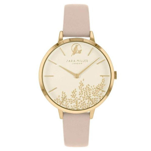 SARA MILLER - Pink Gold Leaf Leather Strap Watch - SA2028