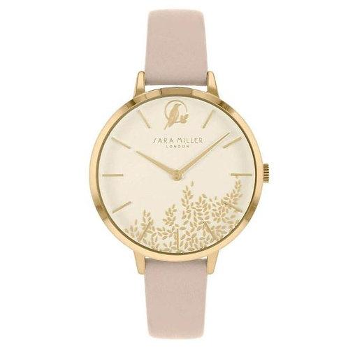 SARA MILLER - Pink Gold Leaf Leather Strap Watch - SA2028