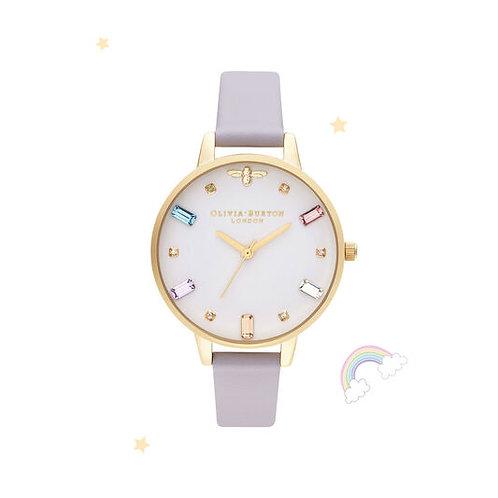 Olivia Burton Rainbow Bee Parma Violet and Gold Watch - OB16RB11
