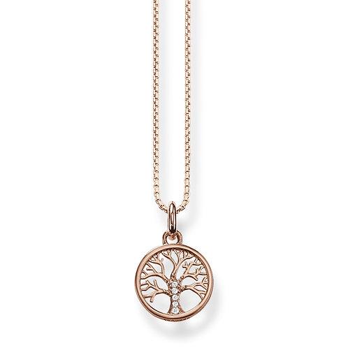 Thomas Sabo Rose Gold tone CZ Tree of Love Necklace - KE2092-414-14