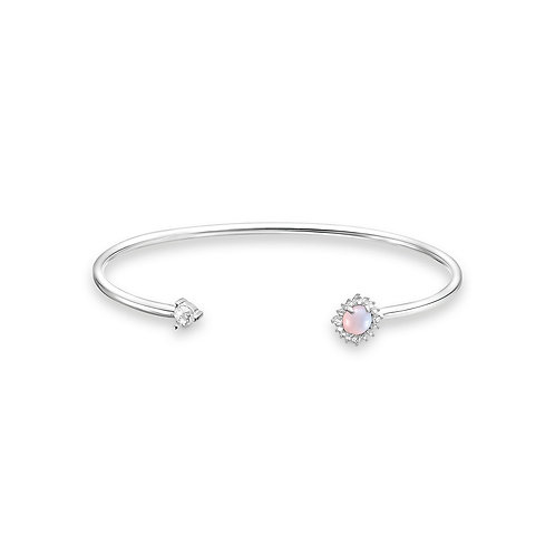 Thomas Sabo Silver Imitation Pink Opal Bangle - AR107-166-7-17.5