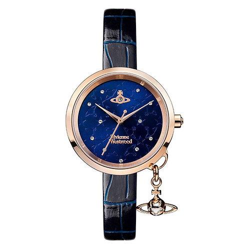 Vivienne Westwood Rose Gold  Bow II Leather Strap Watch - VV139NVNV