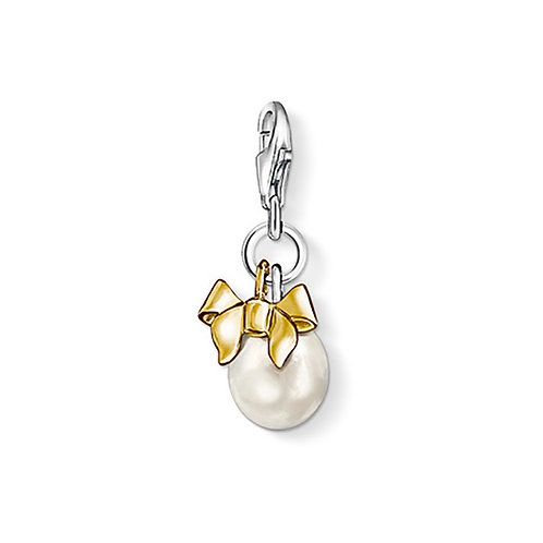 Thomas Sabo Silver Pearl and Bow Charm - 0943-430-14