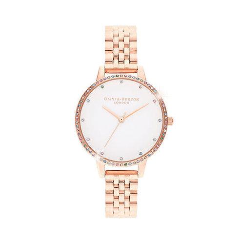 Olivia Burton Rainbow Bezel and Rose Gold Watch - OB16RB21