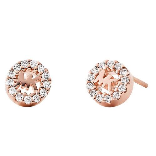 Michael Kors Sterling Silver Rose Gold Custom Logo Earrings