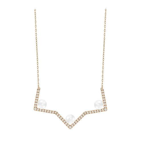 SWAROVSKI Rose Gold Tone Edify Pearl Necklace - 5197179