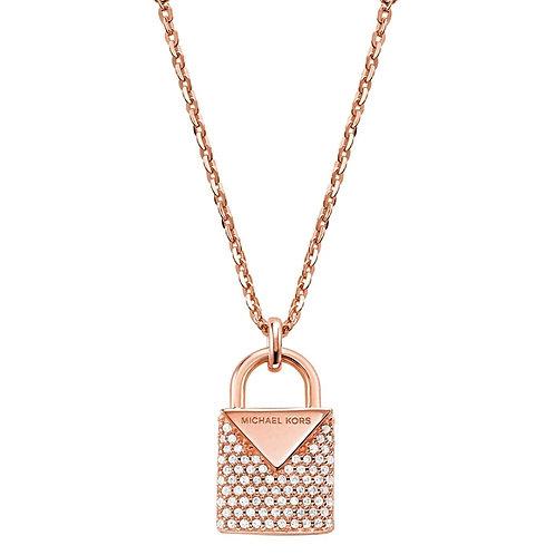 Michael Kors Rose Gold Padlock Pendant Charm Necklace