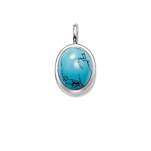Thomas Sabo Silver and Turquoise Oval Pendant - PE426-047-17