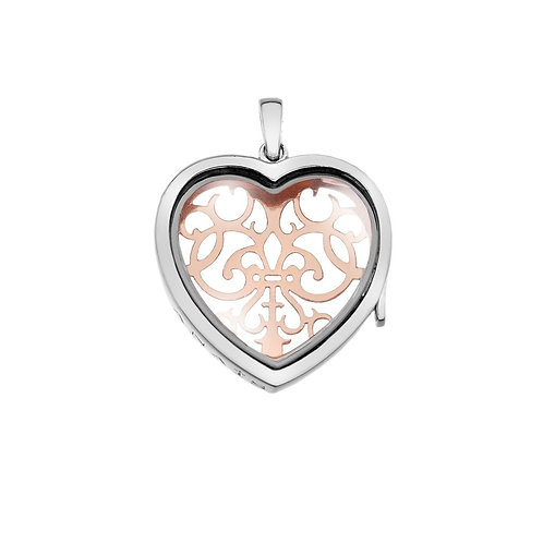 Anais by Hot Diamonds Sterling Silver & Rose Gold Filigree Love Heart Locket