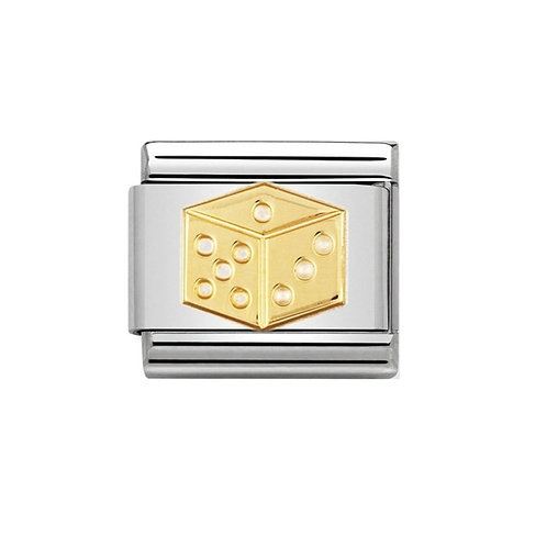 Nomination Gold Lucky Dice Charm Link - 030110/25