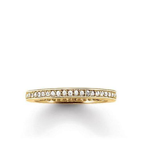 Thomas Sabo Silver CZ Eternity Yellow Gold Ring - TR1983-414-14