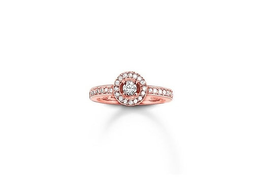 Thomas Sabo Silver Rose Gold Pave Set Ring - TR1975-416-14