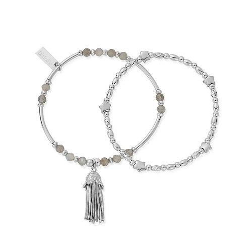 ChloBo Sterling Silver and Labradorite Wisdom and Guidance Bracelet set - SBSET2