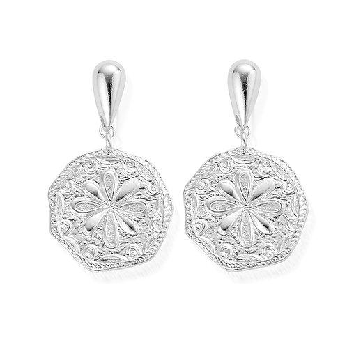 ChloBo Silver Ariella Flower Coin Dangle Stud Earrings - SEDR854