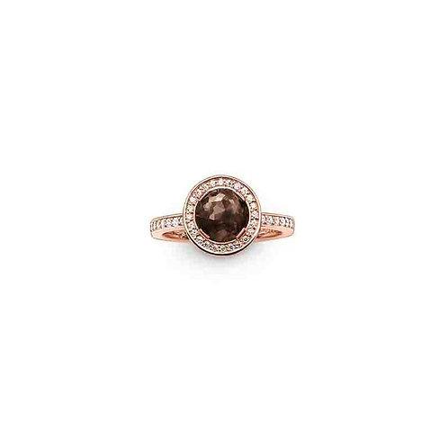Thomas Sabo Silver Rose Gold with Smoky Quartz Ring - TR1971-441-2-54