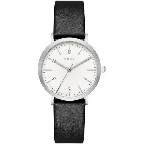 DKNY Ladies Minetta Black Leather Strap Watch - NY2506