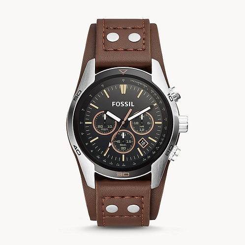FOSSIL Coachman Chronograph Brown Leather Strap Watch -CH2891