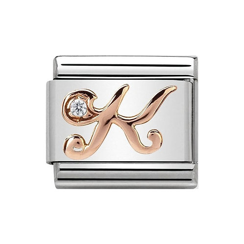 Nomination Rose Gold K Letter Charm Link  - 430310/11