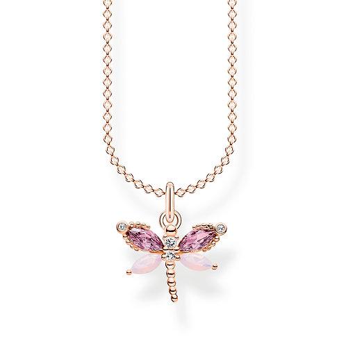 Thomas Sabo Rose Gold tone CZ Dragonfly Necklace - KE2096-321-7