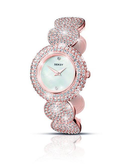 Sekonda Seksy Ladies Rose Gold Tone Crystal Embellished White Face Watch - 4852