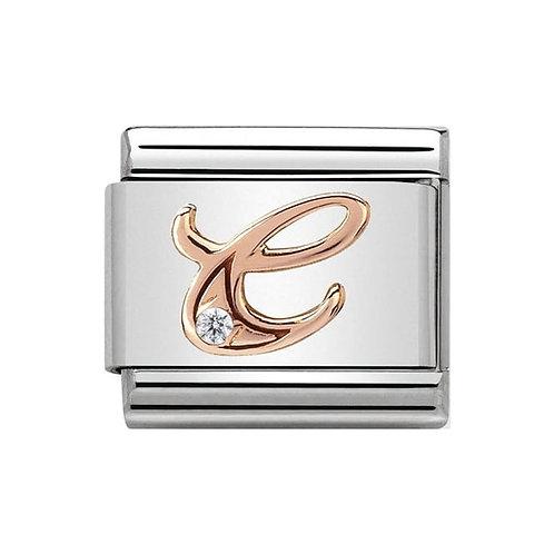 Nomination Rose Gold C Letter Charm Link  - 430310/03