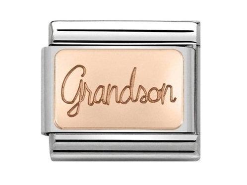 Nomination Rose Gold Grandson Plates Charm Link - 430108/06
