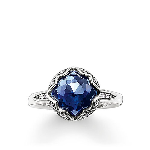 Thomas Sabo Silver and Midnight Blue Purity of Lotus Ring - TR2028-640-1