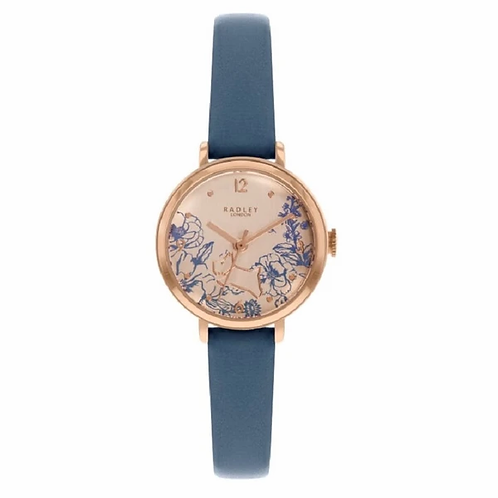 RADLEY Ladies Floral Face Blue Leather Strap Watch - RY2978
