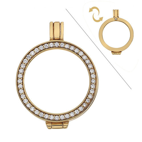 EMOZIONI Reversible CZ Sterling Silver Yellow Gold Plated Keeper 25mm EK009