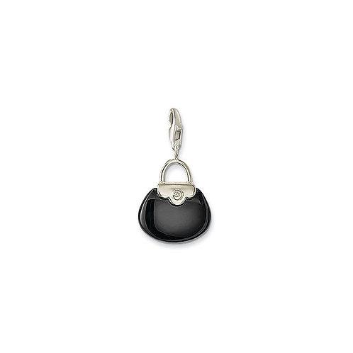 Thomas Sabo Silver Black Handbag Charm - 0033-027-11
