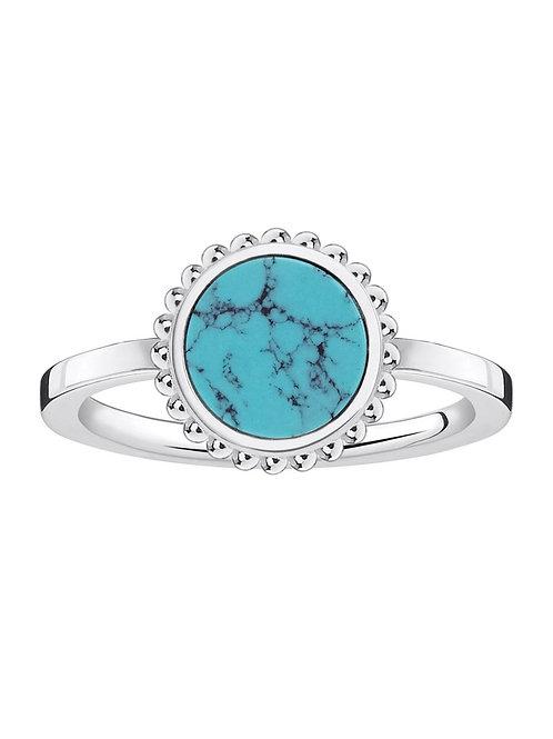 Thomas Sabo Sterling Silver Turquoise Circle Ring - TR2186-404-17-56