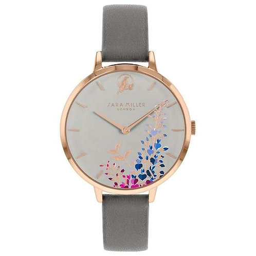 SARA MILLER - Grey Wisteria Leather Strap Watch - SA2048