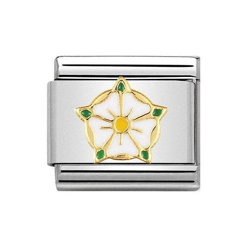 Nomination Gold White Yorkshire Rose Flower Charm Link - 030250/11