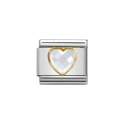 Nomination Gold CZ Coloured Heart Charm Link - 030610