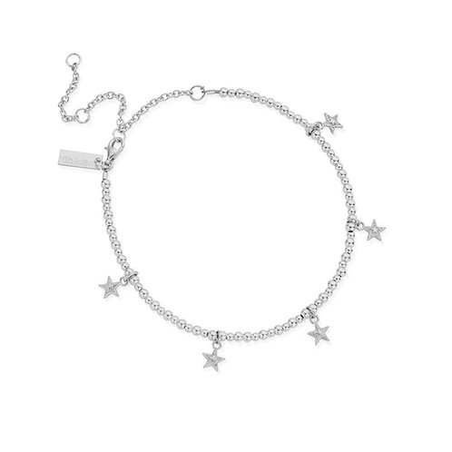 ChloBo Silver Mini Cute Moon and Stars Anklet - SANMC806