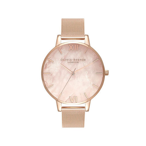 Olivia Burton Semi Precious Rose Gold Mesh Watch - OB16SP01