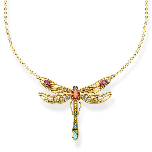 Thomas Sabo S/Silver Gold Plated Colourful Dragonfly Necklace - KE1838-316-7