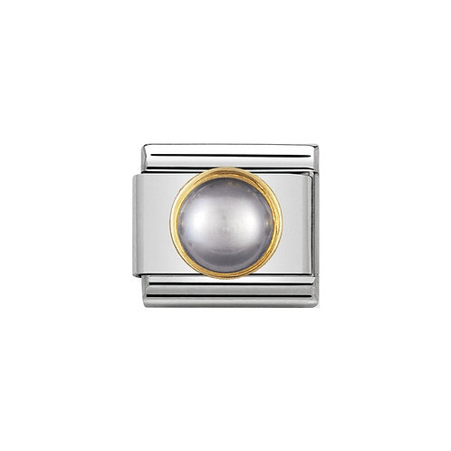 Nomination Gold Grey Pearl Round Charm Link - 030503/14