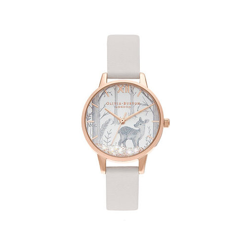 Olivia Burton Wonderland Snowglobe Deer Vegan Blush Strap Watch - OB16SG11