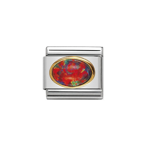 Nomination Gold Oval Red Fire Opal Charm Link - 030502/08
