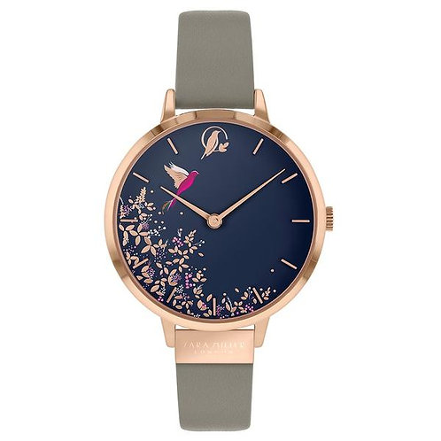 SARA MILLER - Blue Hummingbird Rose Gold Mink Leather Strap Watch - SA2022