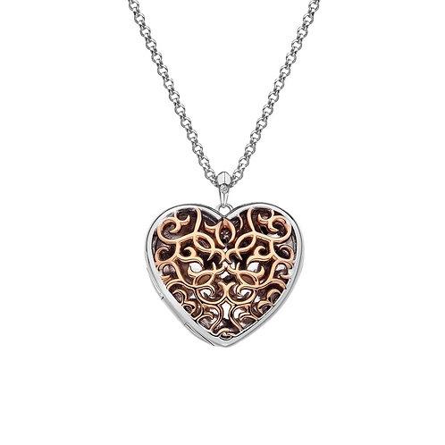 Hot Diamonds Sterling Silver Rose Gold Filigree Heart Locket Necklace - DP670