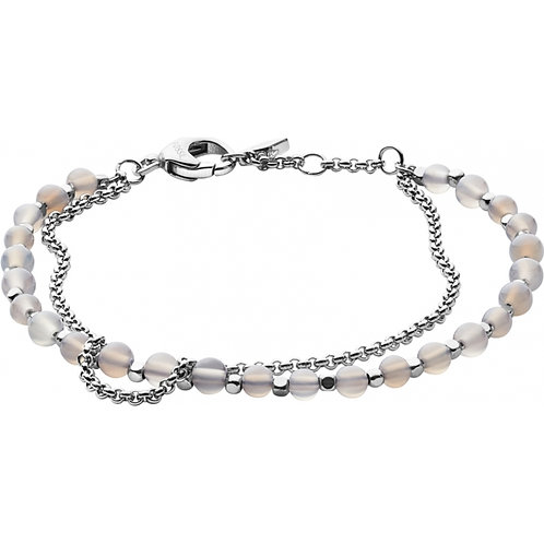 Fossil Women's Stainless Steel and White Agate Beads Bracelet