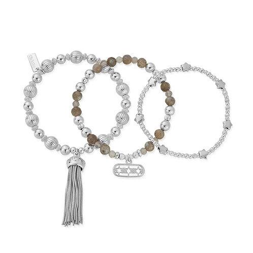 ChloBo Sterling Silver Stars Align Bracelet Set x 3 - SBST3STARS