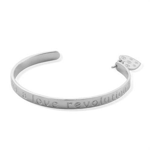 "ChloBo Sterling Silver ""TIME FOR A LOVE REVOLUTION"" Bangle"