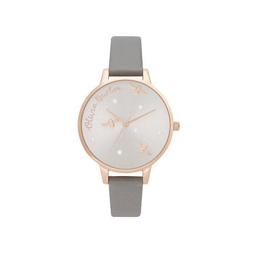 Olivia Burton Rose Gold London Grey Vegan Leather Strap Watch - OB16SPQ03