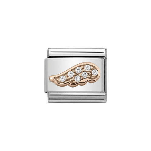 Nomination Rose Gold Angel Wing Clear CZ Charm Link - 430302/05