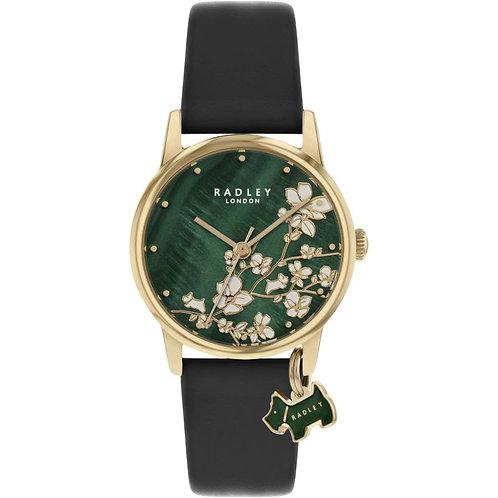 RADLEY Ladies Botanical Garden Black Leather Strap Watch - RY2882