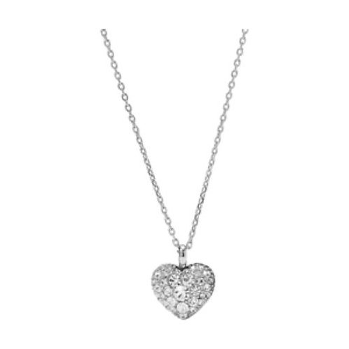 Fossil Clear CZ Pendant Heart Charm Necklace