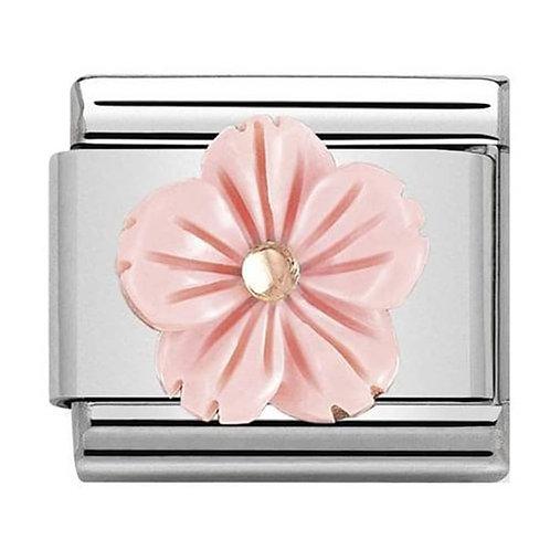Nomination Rose Gold Pink Coral Paste Flower Charm Link - 430510/03